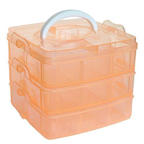 Sasaly Caja de almacenamiento de plástico transparente para manualidades, organizador a prueba de polvo, caja de herramientas para el hogar (AC-naranja, talla única)