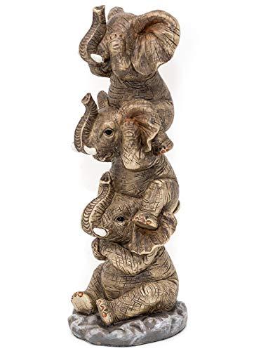Thorne Antiques & Coleccionables Tres Elefantes – Ver no Mal oír no Mal no Habla Mal – Bonito Adorno de Elefante de la Pantorrilla, Resina, Natural, 20 x 7 x 7cm