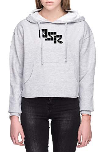 Oud School Rollenspel Dames Crop Capuchon Sweatshirt Grijs Women's Crop Hoodie Sweatshirt Grey