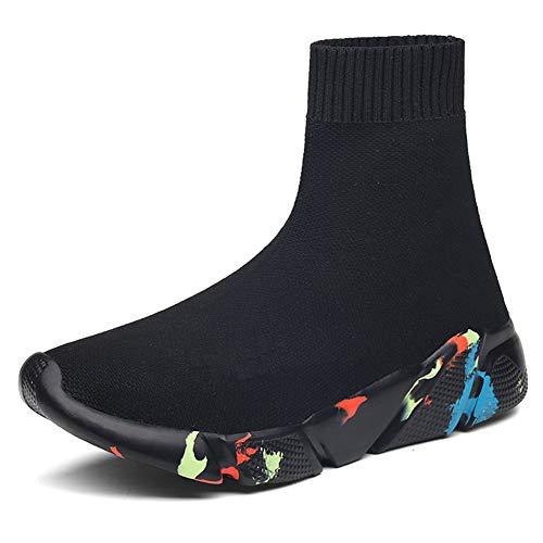 [HuKe] TIOSEBON ハイカット スニーカー メンズ レディース スニーカーブーツ ソックススニーカー ショートブーツ ソックスブーツ ウオーキングシューズ 軽量 通気 厚底 ペア お揃い 男女兼用 (22.5cm, ブラック1(裏ボア))