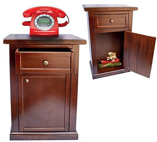 Maury's Arte Povera Mobile Ingresso o Comodino in Legno Abete Effetto Noce Mobiletto 1 Cassetto e 1 Anta 43x31x76cm già Montato