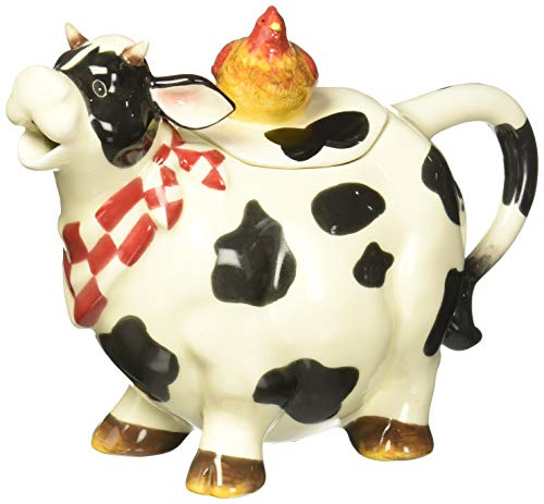 9 Inch Black and White Cow with Chicken Top Collectible Teapot