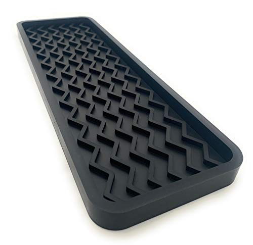 Happitasa Silicone Kitchen Sink Organizer Tray and Sponge Holder | Zigzag Style (BLACK, 12