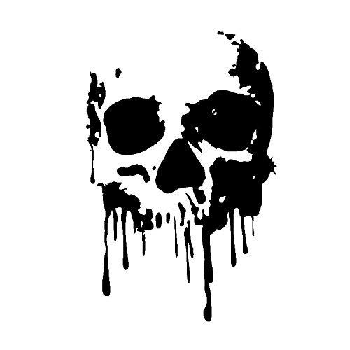 HXZH Etiqueta engomada del automóvil Personalidad Sangre Skull PVC Decoración de automóviles Etiqueta engomada Creativa Funda Impermeable Rasca Negro/Blanco, 17cm * 11cm (Color Name : Black)