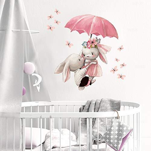 PMSMT Acuarela Conejo Volador Pareja con Paraguas Pegatinas de Pared para niños decoración de la habitación de la guardería del bebé calcomanía de la Pared decoración de la niña Rosa