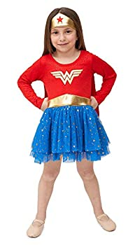 DC Comics Wonder Woman Toddler Girls  Costume Dress with Tiara and Cape Red/Blue 3T