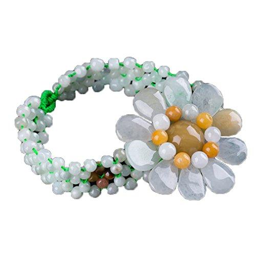 Natural jadeíta Jade Fortune diseño tallado Bead Cord pulsera flor