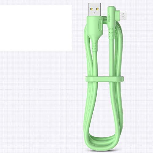 5A líquido 90 grados micro USB tipo C cable carga rápida USB cargador cable para Samsung xiaomi carga rápida alambre de silicona verde USB 1.5 m