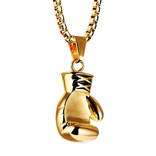 Joeyan Herren Halskette mit Boxhandschuh Anhänger Gold