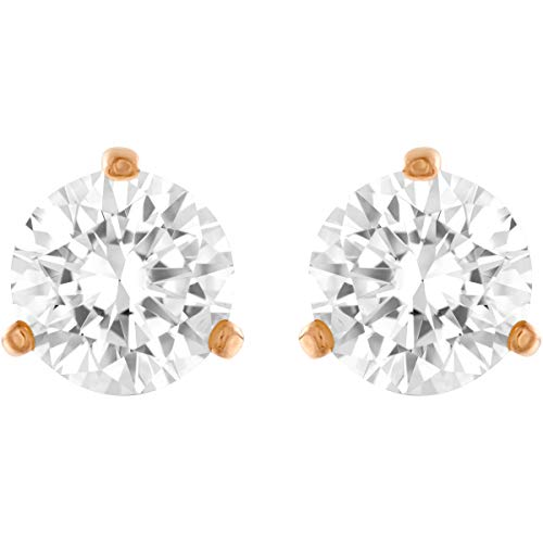 SWAROVSKI Solitaire Stud Pierced Earrings with Large Clear Crystals in a Classic Design on a Rose-Gold Tone Plated Setting