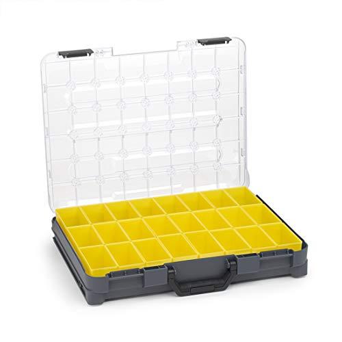Sortimentskasten transparent mit Klappgriff | Bosch Sortimo T-BOXX Anthrazit inkl. Insetbox B3 | Sortierbox Schrauben klein | Ideale Schraubenbox Aufbewahrung