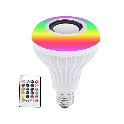 Huyiko - Altavoz de bombilla de música con luz LED (Bluetooth, 12 W, inalámbrica), color negro