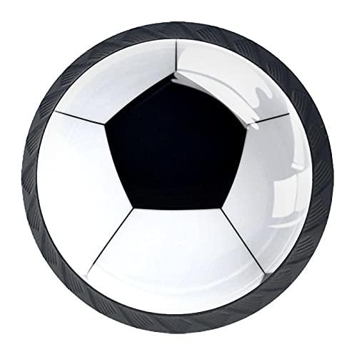 Deportes de fútbol de fútbol blanco negro, moderno minimalista impresión armario manija cajón manija puerta armario manija cuatro piezas traje