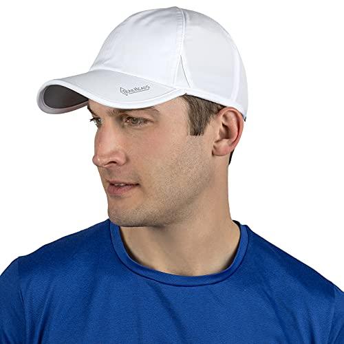 Chapéu de corrida masculino com proteção UV | Chapéus esportivos de secagem rápida para homens | Boné ao ar livre | Bonés FPS 50 | Chapéus de verão para homens, Branco, tamanho �nico