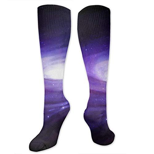 Calcetines largos largos de la galaxia púrpura de la galaxia de las mujeres del muslo de la vida del juego calcetines largos, Como Cuadro Talla única