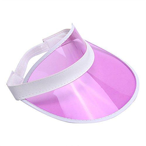 Retro Beach Colored Plastic Clear Sun Visor Hat, Pink, One Size