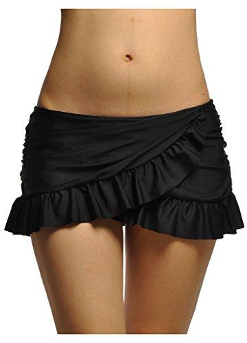 OUO Damen UV Schutz Bikinirock Schwimmen Bikinihose Wassersport Schwimmshorts Boardshorts Schwarz XL