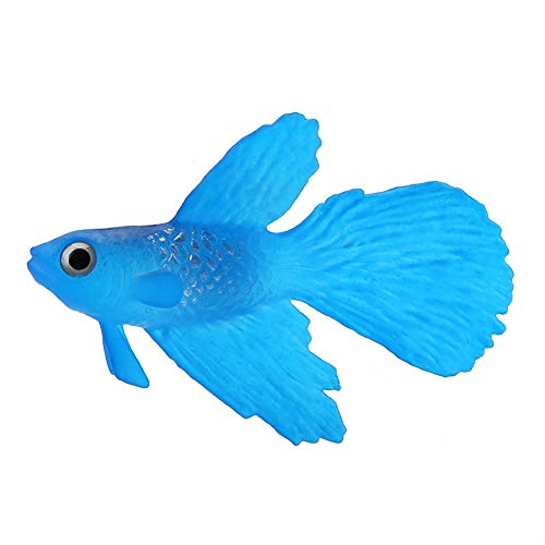 Pssopp Künstliche Fische Silikon Fische Silikon Goldfisch Betta Fisch Lebensechte Künstliche Fische Ornament Schwimmende Fische Aquarium Dekoration Künstliche Bunte Fische (Blauer Betta Fisch)