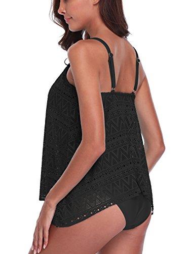 FLYILY Tankini baño de Malla para Mujer Conjunto de Dos Piezas Bikini de Cintura Alta Tallas Grandes(Black,3XL)