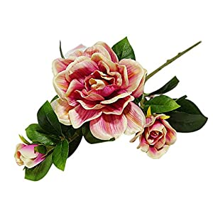 bjlongyi 1Pc 3 Heads Artificial Gardenia Flower,Charming Fake Plant for Home Garden Decoration Red