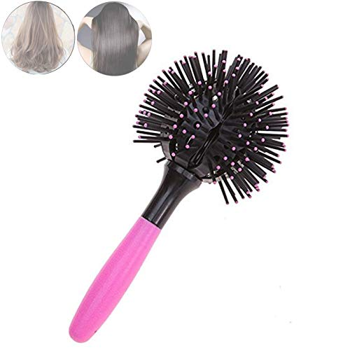 360° 3D Ball Bomb Curl Brush-Styling Salon Round Hair Curling Curler Comb Tool,Degree Styling Salon Round Hair Curling for Making Curly Hair Sphere, Heat Resistant,large