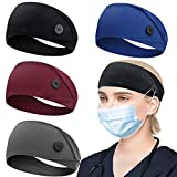 HoogaLife 4pcs Headbands With Buttons For Mask, Women's And Men's Turban Non-Slip Workout Headbands Hair Bands Protect Your Hair And Ears (Black,Gray,Blue,Wine-Red)