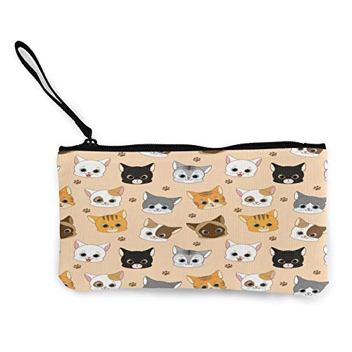 Cat Beige Womens Coin Change Purse Pouch Multipurpose Toiletry Bags Wallet Craft Bag