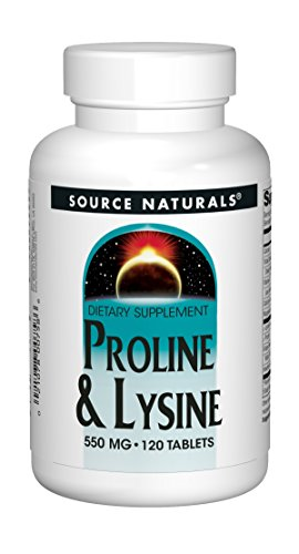 Source Naturals L-Proline 275/L-Lysine 275, 120 Tablets