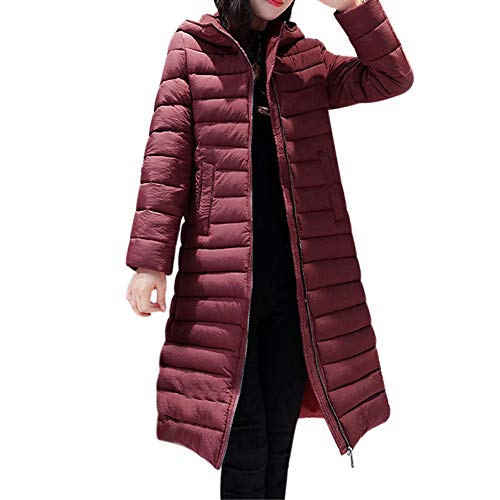 Limsea 2018 Women Parka Slim Jacket Outwear Solid Warm Hooded Coat Long Thicker Cotton Large Red