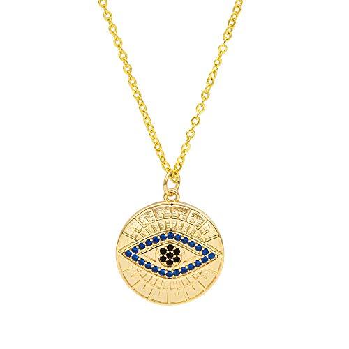Revilium Collar con Colgante De Ojo Malvado De Pavo De Mano De Fatima Hamsa, Collar De Cadena Larga De Oro para Joyería De Mujer