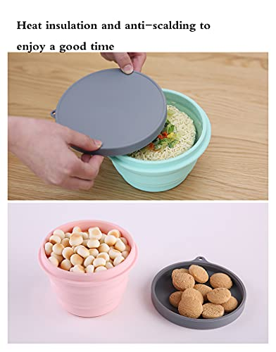 Dinner Set - Portable Silicone Collapsible Bowl,Travel Folding Cup/Mug with and Cutlery Set for Outdoor,Hiking,Picnic(Size:12X9CM,Color:08(500ML+500ML))