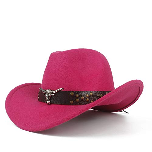 HUANRUOBAIHUO-HAT Fashion Cowboyhoed Unisex mannen vrouwen Western Cowboy hoed Fedora hoed met koe kop leer band zombrero hoed brede rand church jazz hoed maat 56-58 cm