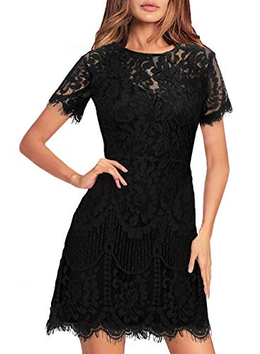 Summer Lace Dresses for Women Casual Party Chic Flattering Short Sleeve Round Neck Wedding Guest A Line Cocktail Dress 910 Black L