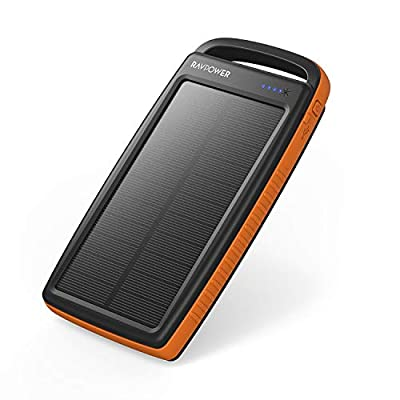 Solar Charger RAVPower 20000mAh Portable Charger Solar Power Bank Dual USB External Battery Pack Power Pack with Flashlight for Outdoor (Yellow)
