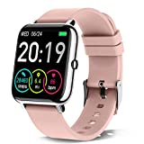 Rinsmola Smartwatch Donna, Orologio Fitness Smart Watch Contapassi Cardiofrequenzimetro, 1,4'' Full Touch Sportivo Activity Tracker Cronometro, Notifiche Messaggi, Controller Fotocamera Musicale-Rosa