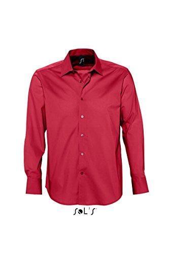 Sol'S Brighton - Chemise Homme à Manches Longues - Confortable avec Son Tissu en Stretch et Easycare - Rouge Cardinal - 3XL