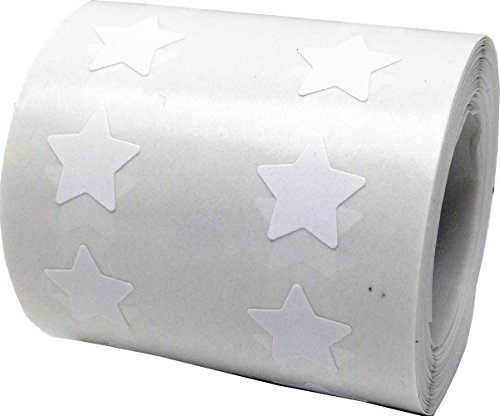 White Star Shape Stickers 0.50 Inch 1,000 Adhesive Labels
