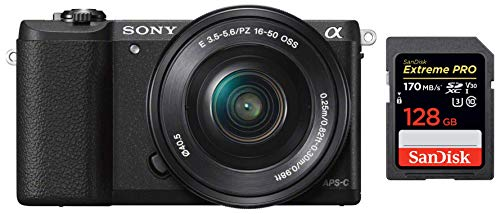 Sony Alpha ILCE5100L 24.3MP Digital SLR Camera (Black) with 16-50mm Lens with Free Case (Bag) + SanDisk 128GB Extreme Pro SDXC UHS-I Card - C10, U3, V30, 4K UHD, SD Card