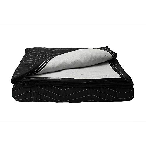 US Cargo Control Supreme Mover Moving Blankets - 80 Inches Long By 72 Inches Wide - Black/White Moving Pads - Cotton/Polyester Blend Fabric - 7.5 Pounds Per Blanket - Washable and Reusable