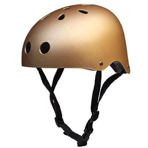 JHKGY Skateboard Helm, Mit Verstellbaren Trägern,ASTM- Und CE-Zertifizierter Multisport,Fahrradskate, BMX Fahrradhelm,Für Kinder, Jugendliche Und Erwachsene,Gold,S
