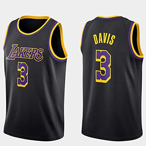 Edición de Bonificación Negra, Angeles Lakers # 3 Anthony Davis - Classic Comfort Chalecos Transpirables Camiseta Uniformes Deportivos Tops, Ropa Jerseys de Baloncesto para Hombre(Size:S,Color:A1)
