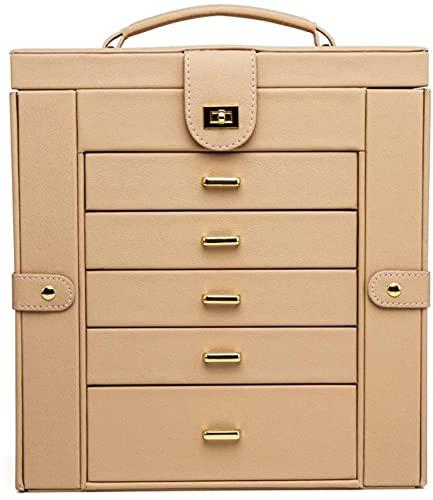 Caja de joyería de escritorio para el hogar, caja de exhibición de joyas, espejo con cajón, impermeable multifunción de gran capacidad, para anillos, pulseras, pendientes, collares