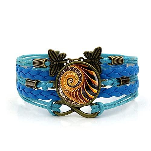Pulseira de tecido JUNWEN, corda azul Fibonacci arte espiral, pulseira de pedras preciosas, múltiplas camadas de vidro, combinação de vidro, joias femininas modernas, estilo europeu e americano
