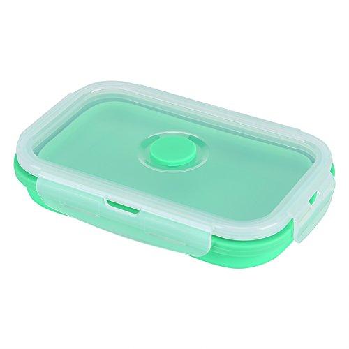 Delaman Boîte à Lunch Pliable en Silicone avec Couvercle for boîtes à Lunch Pliables Contenant for Aliments allant au Micro-Ondes et au Lave-Vaisselle, 500 ML (Couleur : Vert)