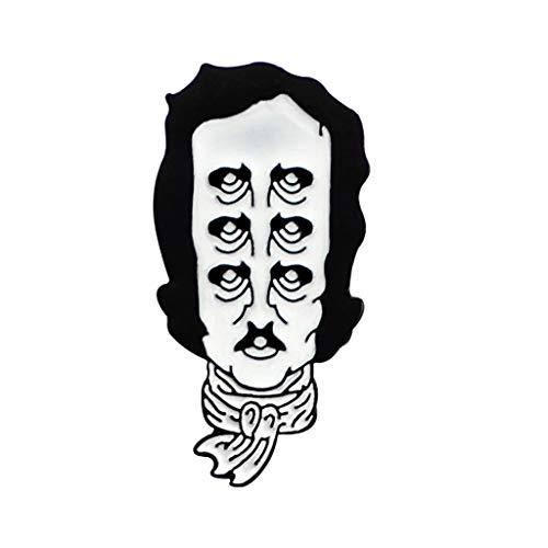 SimpleLife Brosche Emaille Revers Pin-Edgar Allan Poe Emaille Revers Pin mehrere Augen Alter Mann Kopftuch Brosche Schmuck, 4,2 X 2,1 cm