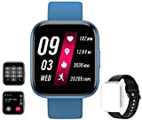 feifuns Smart Watch(Receive/Make Call) 1.54'' Full Touch Screen Fitness Tracker with Life Water-Resistant Heart Rate/Blood Pressure/Oxygen Pedometer Sleep Track for Women Men Android iOS Phone (Blue)