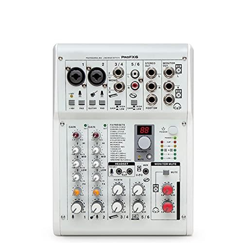 FENXIXI Interfaz de Audio de Mezclador Digital Profesional DJ Tarjeta de Sonido Consoel con Equipo de Potencia Fantasma