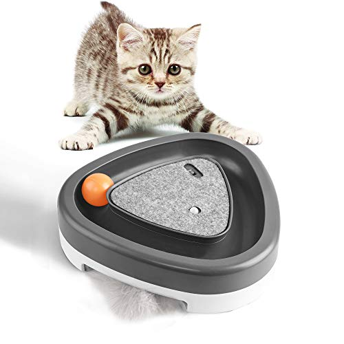 YOUMI Interactive Cat Toy with Rotating Feather, Rolling Ball & Scrarth Mat, Newest Version Electronic Cat Toy, Bird Song Sound & Auto Shut Off, Kitten Stimulation Toys-Drive Away Loneliness