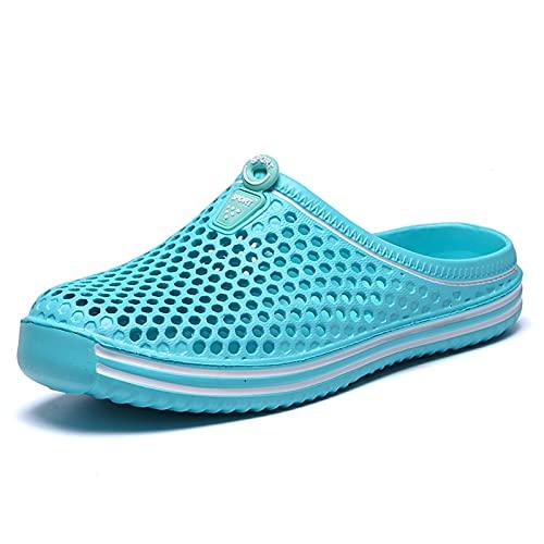 Summer Pyples Men Scava Fuori Traspibile Beach Flip Flops Unisex Casual Slip-on Flat Sandali Sandali da Uomo Scarpe Dimensioni (Color : Sky Blue, Shoe Size : 6.5)