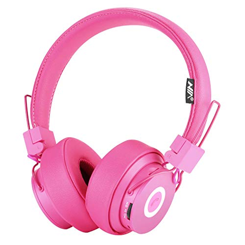 Bluetooth Headphones On Ear, Hi-Fi Stereo Foldable Over-Ear Headset with Microphone, APP to Control Headphones, Soft Earmuffs Support SD Card FM Radio Wired and Wireless Headset for Kids Adults, Pink